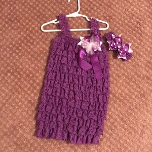 Other - Purple lace romper with headband and bow